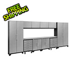 NewAge Garage Cabinets PERFORMANCE 2.0 Silver Diamond Plate 12-Piece Cabinet Set with LED Lights