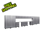 NewAge Products PERFORMANCE 2.0 Silver Diamond Plate 16-Piece Cabinet Set with LED Lights