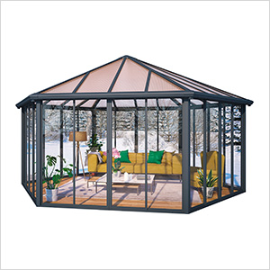 Garda Enclosed Hexagon Garden Gazebo (Grey / Bronze)