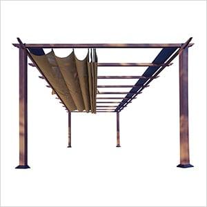 11 x 16 ft. Verona Aluminum Pergola (Chilean Wood / Cocoa Canopy)