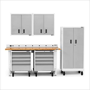 7-Piece White Garage Cabinet Set