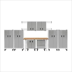 14-Piece White Garage Cabinet Set