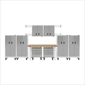 14-Piece White Garage Cabinet System