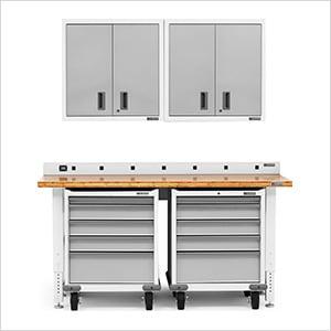 6-Piece White Garage Cabinet Set