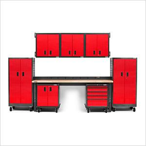 14-Piece Red Premier Garage Cabinet Set