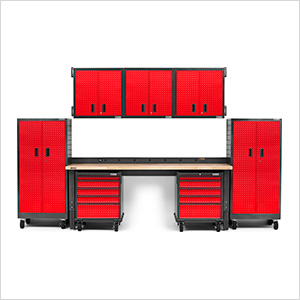 14-Piece Red Premier Garage Cabinet System