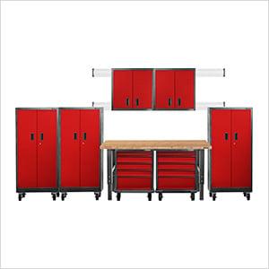13-Piece Red Premier Garage Cabinet System