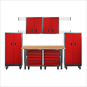 Premier 12-Piece Red Garage Cabinet System