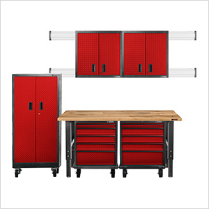 11-Piece Red Premier Garage Cabinet System