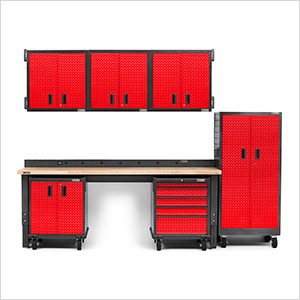 13-Piece Red Premier Garage Cabinet Set