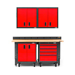 Gladiator GarageWorks Premier 6-Piece Red Garage Cabinet Set