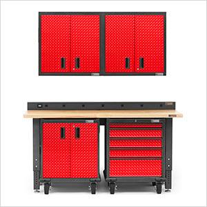 6-Piece Red Premier Garage Cabinet Set