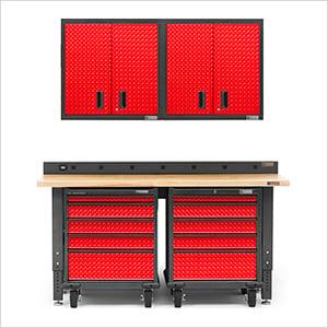 6-Piece Red Premier Garage Cabinet System
