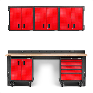 12-Piece Red Premier Garage Cabinet Set