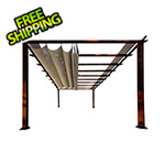 Paragon Outdoor 11 x 16 ft. Verona Aluminum Pergola (Chilean Wood / Sand Canopy)