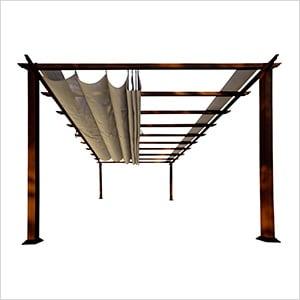 11 x 16 ft. Verona Aluminum Pergola (Chilean Wood / Sand Canopy)