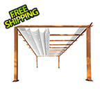 Paragon Outdoor 11 x 16 ft. Verona Aluminum Pergola (Canadian Wood / Off White Canopy)