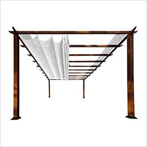 11 x 16 ft. Verona Aluminum Pergola (Chilean Wood / Off White Canopy)