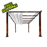 Paragon Outdoor 11 x 11 ft. Florence Aluminum Pergola (Chilean Wood / Off White Canopy)