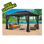 Paragon Outdoor 11 x 16 ft. Santa Monica XL Aluminum Gazebo with Mosquito Netting
