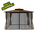 Paragon Outdoor 10 x 12 ft. Santa Fe Gazebo with Mosquito Netting and Privacy Panels (Cocoa Canopy)