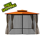 Paragon Outdoor 10 x 12 ft. Santa Fe Gazebo with Mosquito Netting and Privacy Panels (Rust Canopy)