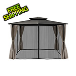 Paragon Outdoor 10 x 12 ft. Santa Fe Gazebo with Mosquito Netting and Privacy Panels (Grey Canopy)