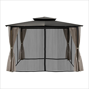 10 x 12 ft. Santa Fe Gazebo with Mosquito Netting and Privacy Panels (Grey Canopy)