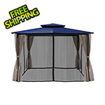 Paragon Outdoor 10 x 12 ft. Santa Fe Gazebo with Mosquito Netting and Privacy Panels (Navy Canopy)