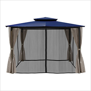 10 x 12 ft. Santa Fe Gazebo with Mosquito Netting and Privacy Panels (Navy Canopy)