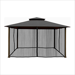 11 x 14 ft. Barcelona Gazebo with Mosquito Netting (Grey Canopy)
