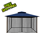 Paragon Outdoor 11 x 14 ft. Barcelona Gazebo with Mosquito Netting (Navy Canopy)