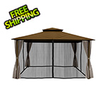 Paragon Outdoor 11 x 14 ft. Barcelona Gazebo with Mosquito Netting and Privacy Panels (Cocoa Canopy)