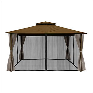 11 x 14 ft. Barcelona Gazebo with Mosquito Netting and Privacy Panels (Cocoa Canopy)