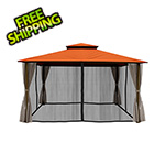 Paragon Outdoor 11 x 14 ft. Barcelona Gazebo with Mosquito Netting and Privacy Panels (Rust Canopy)