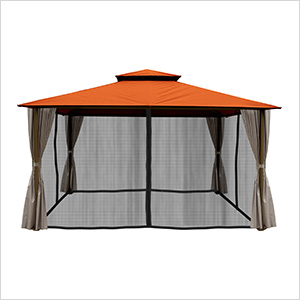 11 x 14 ft. Barcelona Gazebo with Mosquito Netting and Privacy Panels (Rust Canopy)
