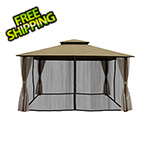 Paragon Outdoor 11 x 14 ft. Barcelona Gazebo with Mosquito Netting and Privacy Panels (Sand Canopy)