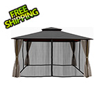 Paragon Outdoor 11 x 14 ft. Barcelona Gazebo with Mosquito Netting and Privacy Panels (Grey Canopy)