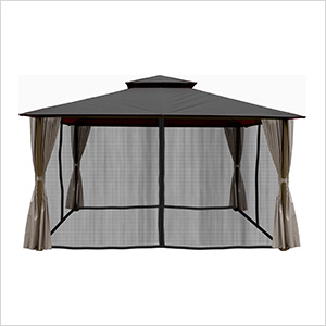 11 x 14 ft. Barcelona Gazebo with Mosquito Netting and Privacy Panels (Grey Canopy)