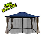 Paragon Outdoor 11 x 14 ft. Barcelona Gazebo with Mosquito Netting and Privacy Panels (Navy Canopy)