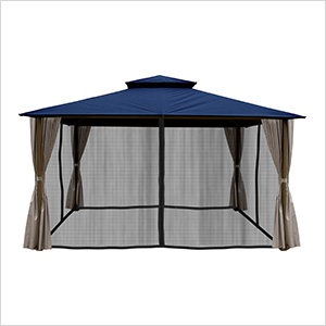 11 x 14 ft. Barcelona Gazebo with Mosquito Netting and Privacy Panels (Navy Canopy)