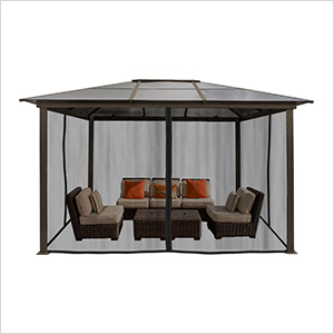 10 x 13 ft. Madrid Hard Top Gazebo with Mosquito Netting