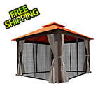 Paragon Outdoor 12 x 12 ft. Seville Gazebo with Sunbrella Canopy, Mosquito Netting and Privacy Panels