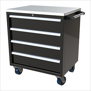 4-Drawer Black Aluminum Toolbox