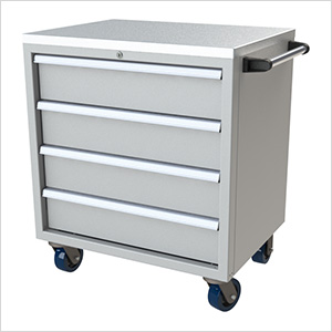 4-Drawer Light Grey Aluminum Toolbox