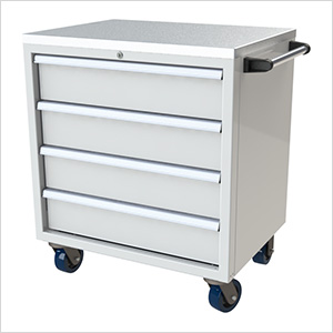 4-Drawer White Aluminum Toolbox