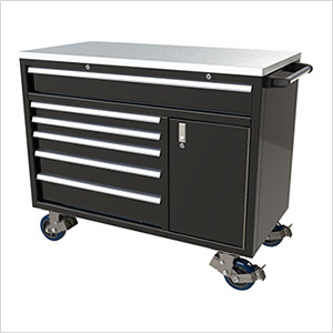 6-Drawer / 1-Door Black Aluminum Tool Cabinet