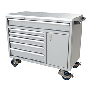 6-Drawer / 1-Door Light Grey Aluminum Tool Cabinet