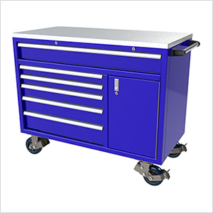 6-Drawer / 1-Door Blue Aluminum Tool Cabinet