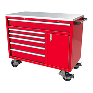 6-Drawer / 1-Door Red Aluminum Tool Cabinet